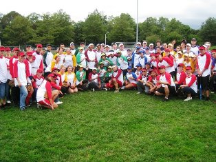 Stony Brook University students assemble with their teams at the 2009 Alpha Phi Delta Fraternity Charity Softball Tournament. The 2010 tournament benefits Stony Brook Long Island Children's Hospital.