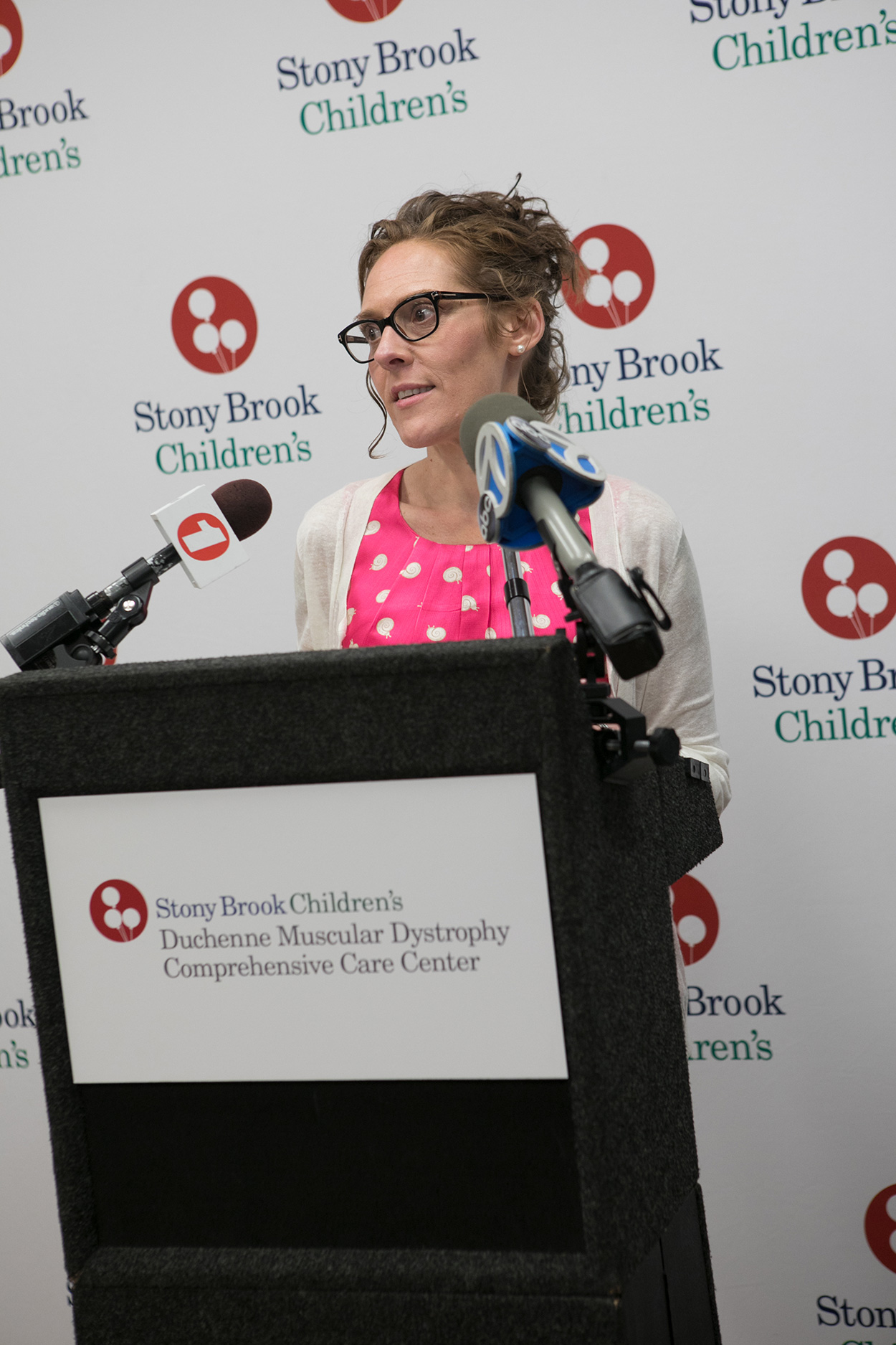 Jennifer Portnoy, Co-Founder of Hope for Javier, Javier's mother, speaks at the ribbon cutting ceremony for the Duchenne Muscular Dystrophy Comprehensive Care Center at Stony Brook Children's Hospital