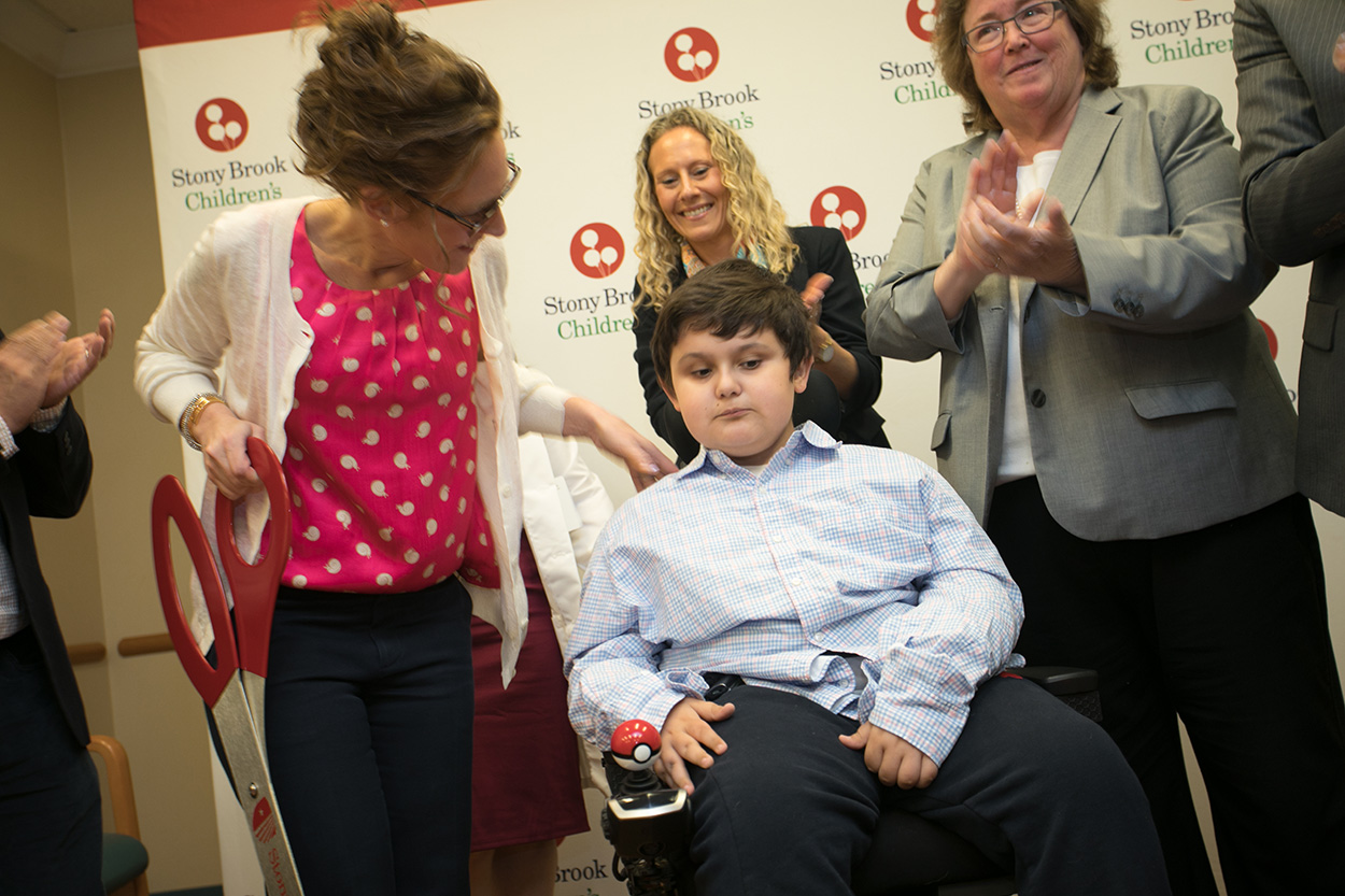 Javier Romero, Duchenne Muscular Dystrophy patient, Namesake of Hope For Javier, at the ribbon cutting ceremony for the Duchenne Muscular Dystrophy Comprehensive Care Center at Stony Brook Children's Hospital