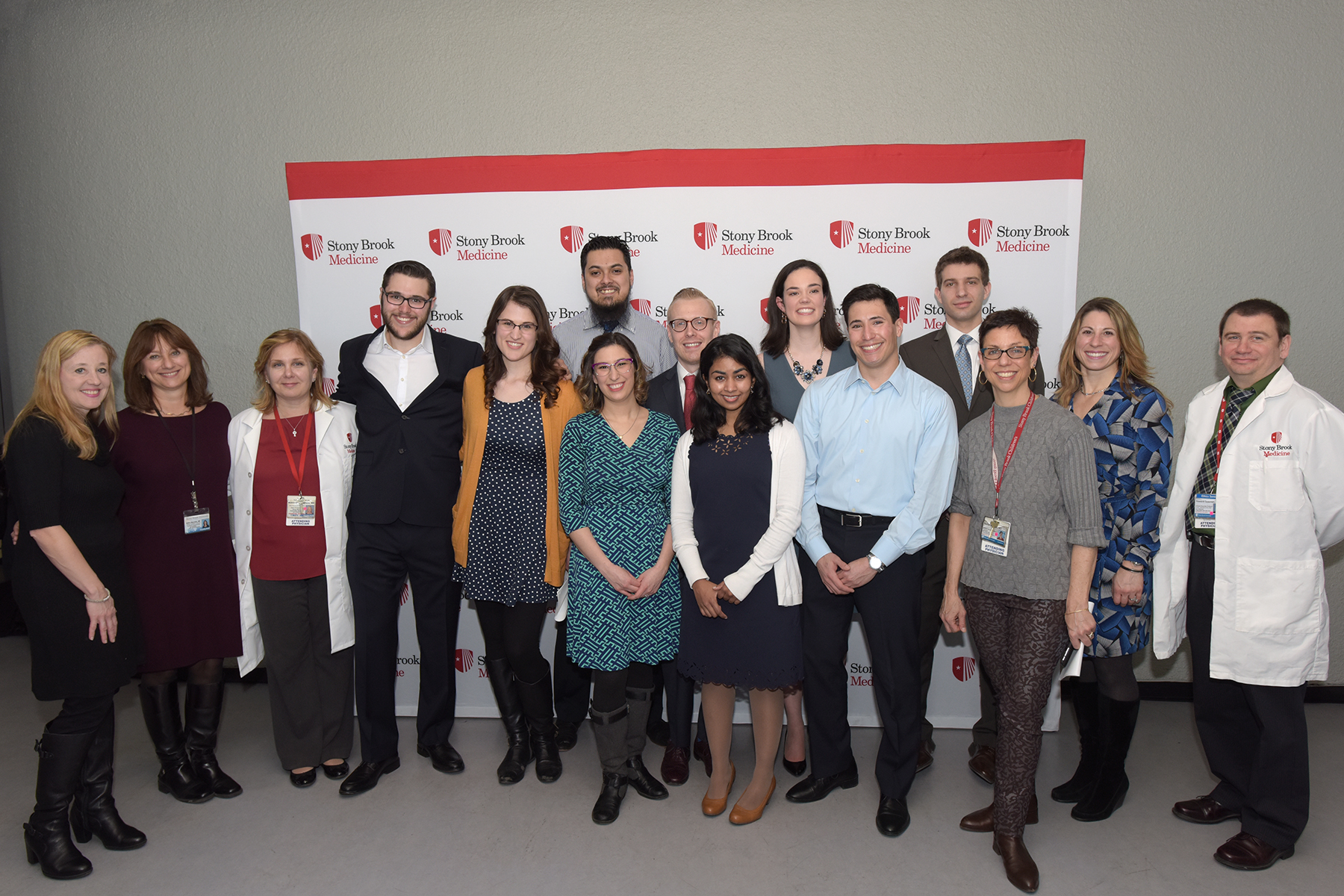 Pictured are some of the students who will remain at Stony Brook as residents (preliminary or full residency), along with alumni who are also Stony Brook Medicine faculty.