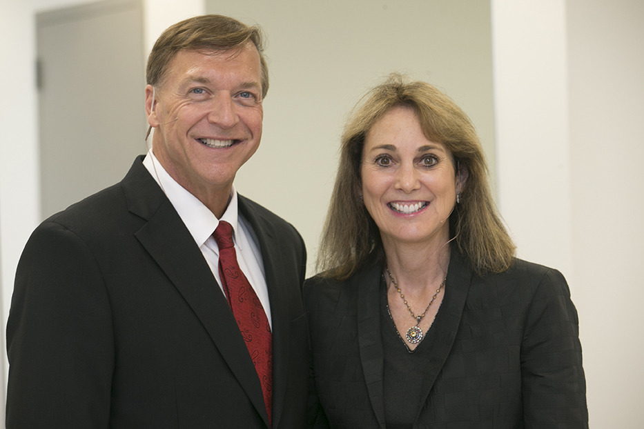 Stony Brook University President Samuel L. Stanley Jr., MD, with AARP President Jeannine English