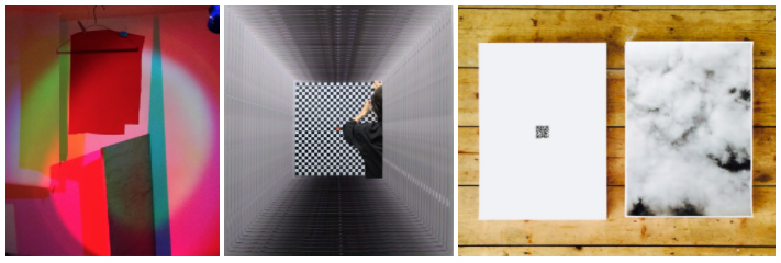 Left to right: Lindsay Packer, Spectral Response, Part 1: Color Coder (detail), 2016;  Mitch Patrick, Peeler, 2016, video still;  John Ros, untitled: 18 malden rd, 2016, digital print takeaway