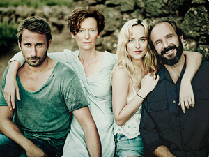 Tilda Swanson (second from left) plays a rock star whose vacation takes a surprising turn in A Bigger Splash.