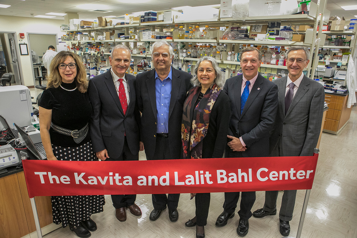 At Bahl Center unveiling, left to right: Lina Obeid, MD, Yusuf Hannun, MD, Lalit Bahl, Kavita Bahl, Stony Brook University President Samuel L. Stanley Jr., MD, Kenneth Kaushansky, MD, Senior Vice President for the Health Sciences and Dean of the School of Medicine.