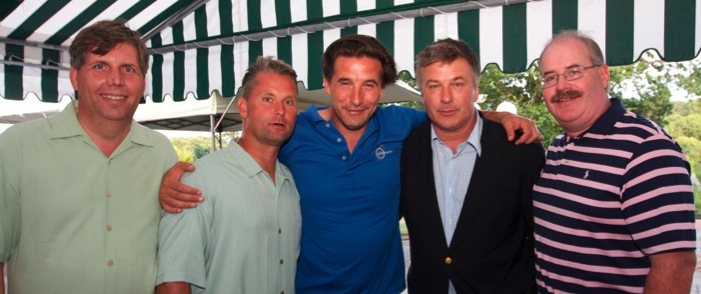 Baldwin brothers Alec and Billy (center) at the Celebrity Golf Outing, joined by (from left): Robert Borneman, treasurer of the Fund; John Stoerback, president; and Arthur Seeberger, board member an president of FW sims, presenting sponsor of the outing.