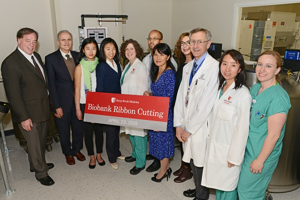 On April 23, Stony Brook University Hospital proudly held a ribbon-cutting ceremony for its newly refurbished Biobank. From left: Kenneth Shroyer, MD, PhD, The Marvin Kuschner Professor and Chair, Department of Pathology; Yusuf Hannun, MD, Director, Stony Brook Cancer Center; Julia Hu; Olivia Hu; Angelique Corthals, PhD, Scientific Director, Stony Brook Biobank; James Davis, MD, Medical Director, Stony Brook Biobank; Hui Jiang; Lina Obeid, MD, Dean for Research; Kenneth Kaushansky, MD, Senior Vice President, Health Sciences, Dean, Stony Brook University School of Medicine; FangFang Zhang, PhD, Research Support Specialist; and AnnMarie Kotarba, RN.