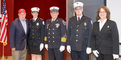 New York State Senator Kenneth P. LaValle (far left) and newly installed officers for the SCVFBC Fund (from left) Dawn Meyer, Jeff Bailes, Barry Vicik and Claudia Harford.