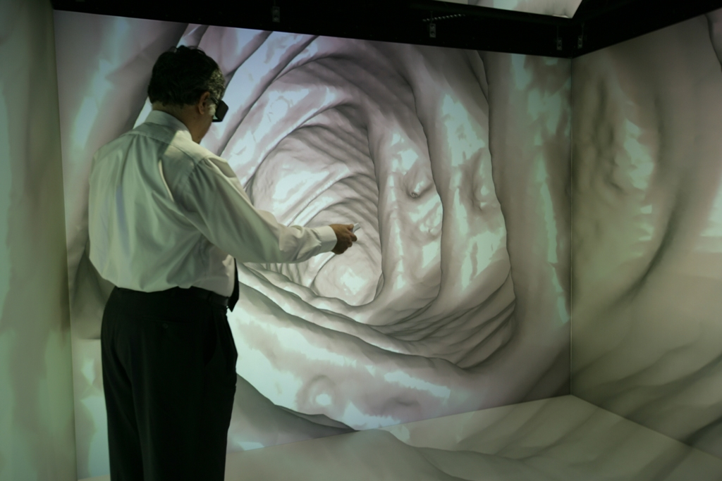 CEWIT Chief Scientist Arie Kaufman explores a virtual colonoscopy in a 3D immersive environment.