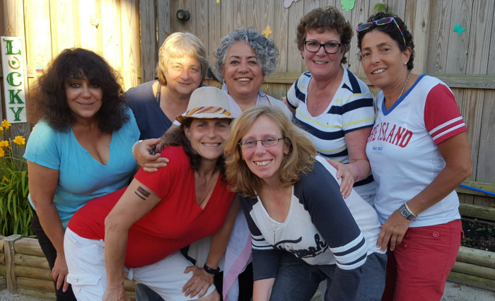 Members of the Concerned Women of the Grove pose for a photo during a meeting in Cherry Grove. Back row from left: Paulette Manos, Jennie Mandolin, Stella Bruzzese, JoAnn Orfanos, Angela Ruggiero. Front row from left: Susan Panzer, Angela Smith.
