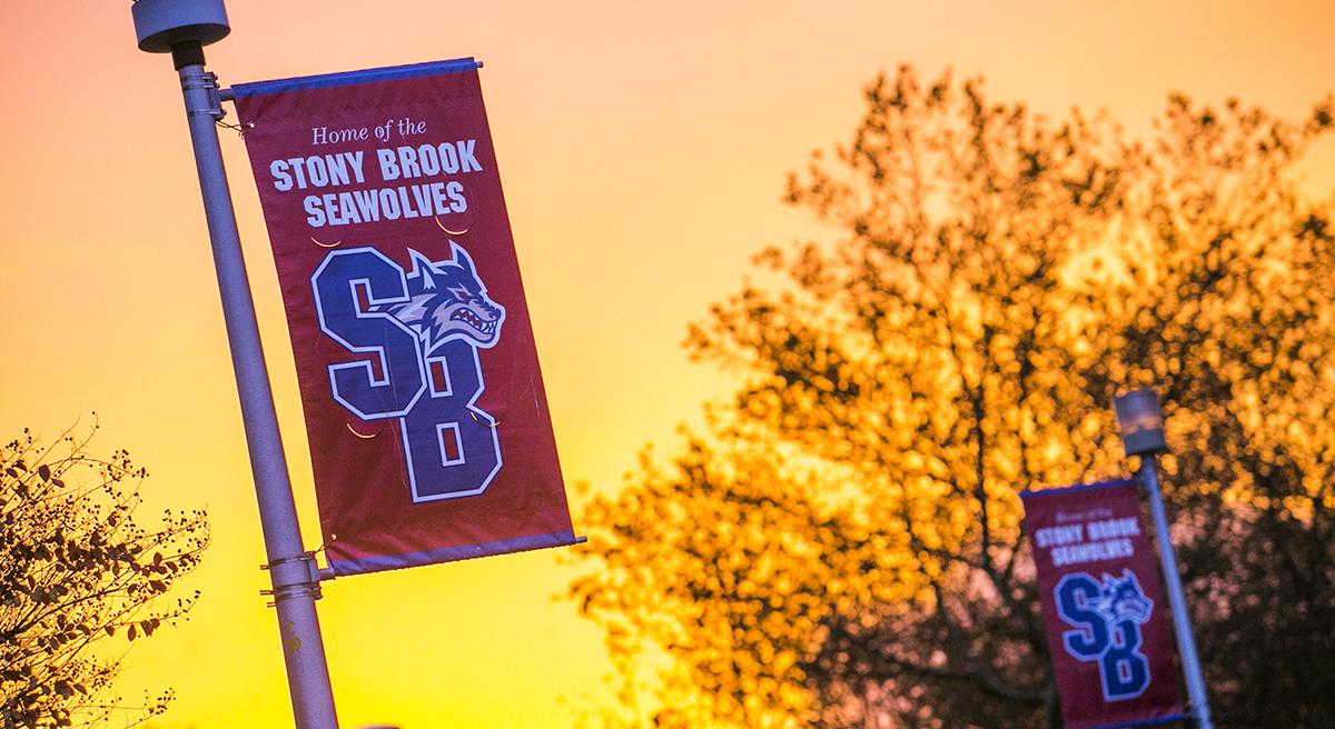 Stony Brook, NY; Stony Brook University: Fall colors on campus. Banners at sunser