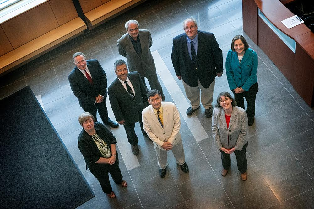 Members of the Center for Advanced Technology in Integrated Electric Energy Systems (CIEES), in front, from left: Ann-Marie Scheidt, Yacov Shamash, and Amy Marschilok. In back, from left: Jim Smith, Benjamin Hsiao, Eugene Feinberg, Jim Misewich, and Esther Takeuchi.