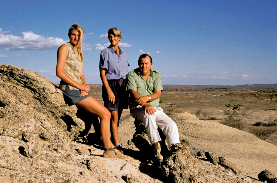 Louise, Meave and Richard Leakey in Kenya.