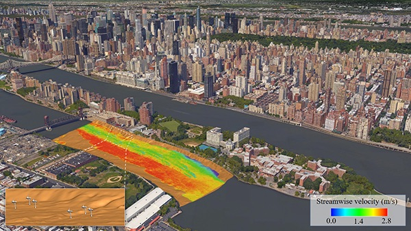Sotiropoulos, his students and collaborators have developed advanced computational fluid dynamics tools enabling the simulation of turbulent flows in real-life riverine environments with mobile sediment beds, complex hydraulic structures, and energy harvesting devices. Shown here is a simulation of flow in New York City's East River seeking to optimize the layout of the tidal turbine array to be installed as part of the Roosevelt Island Tidal Energy project.
