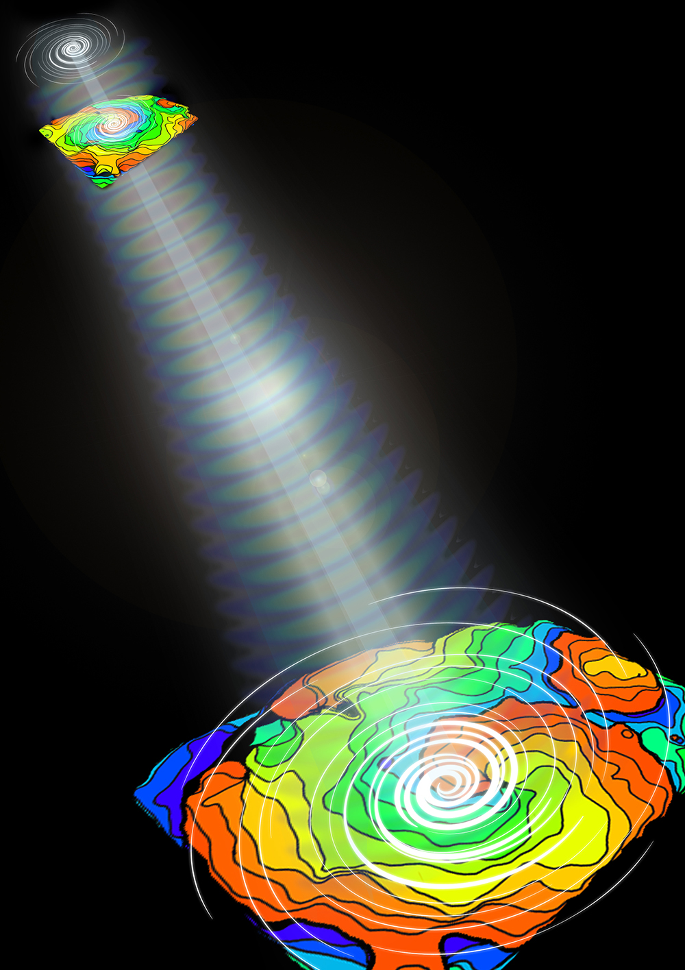 Using computer-generated light patterns, researchers were able to control the direction of cardiac electrical waves (color maps), which form distinct spirals during arrhythmias. Credit: Eana Park