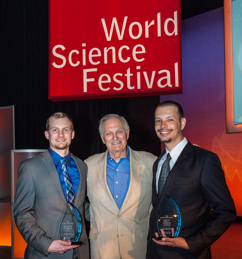 (L to R):  Brandon Aldinger, Alan Alda and  Eric C. Galicia
