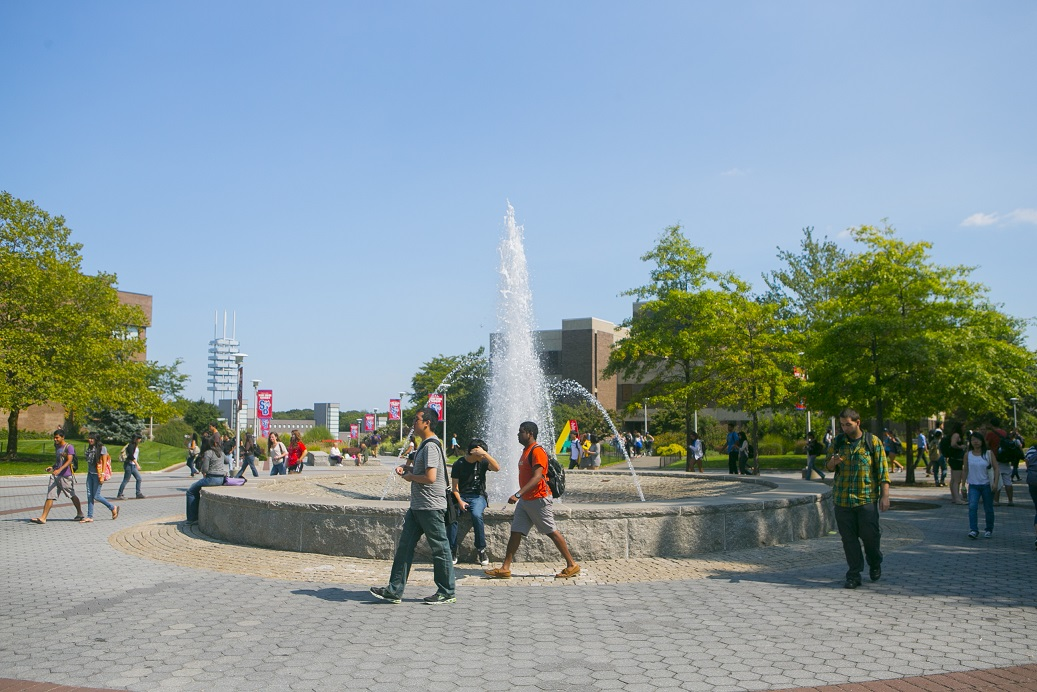 Fountain and mall