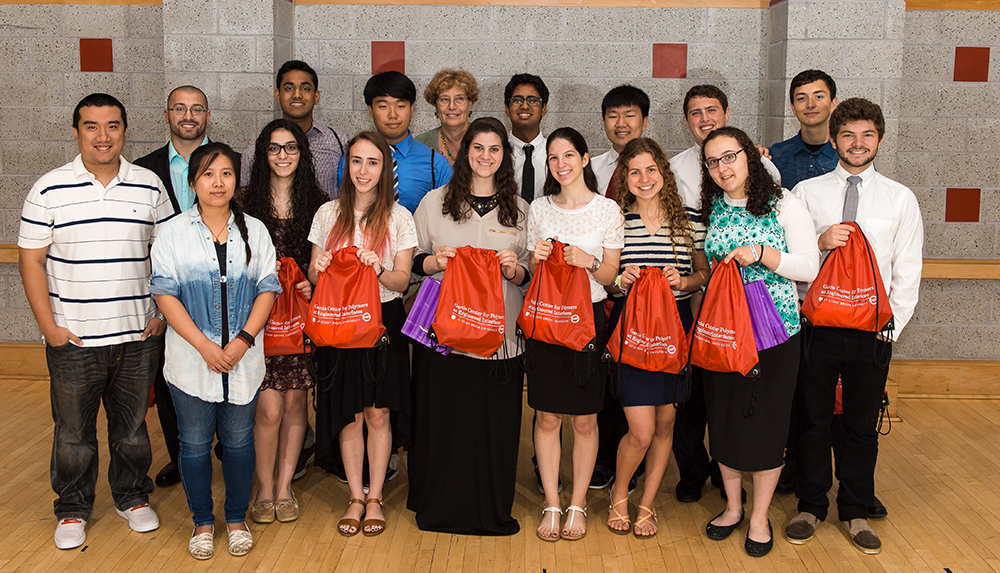 All four Stony Brook University-mentored high school students heading to the Siemens Competition national finals took part in the Garcia Research Scholar Program. In the photo from one of the Garcia research teams are three of the four finalists, pictured in the back row: Daniel Chae (third from left); Sidharth Bommakanti (fifth from left); and Alan Tan (sixth from left).