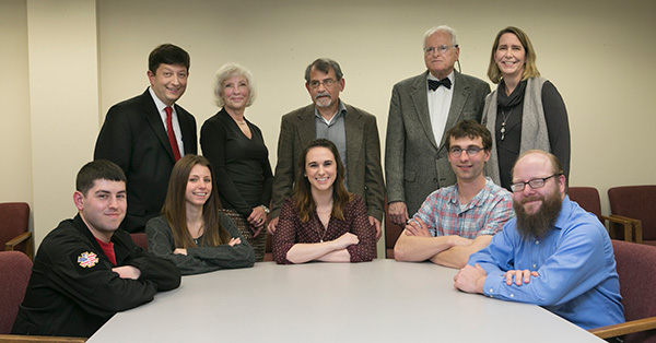 Following a series of lectures in the History Department at Stony Brook University, Undergraduate and Graduate Gardiner Fellows and representatives of the Gardiner Foundation gathered for a reception commemorating the establishment of the Robert David Lion Gardiner Chair in American History and the Foundation's student scholarship support over the past decade. Seated from left: Andrew Check ('16), Kaitlyn Wulff ('17); Colleen Cheslak ('16); Richard Tomczak (2nd year PhD); Lance Boos (1st year PhD). Standing from left: CAS Dean Sacha Kopp; Kathryn M. Curran; Gary Marker, the Honorable Peter Fox Cohalan, Gardiner Foundation Director, Suffolk County Historian and Former State Supreme Court Justice; and Professor Jennifer Anderson.