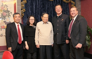 Pictured from left, Dr. Hong Chen, FanFan Weng, Dr. Yang Chen Ning, Dr. Deng Wei, and Dr. Samuel L. Stanley Jr.