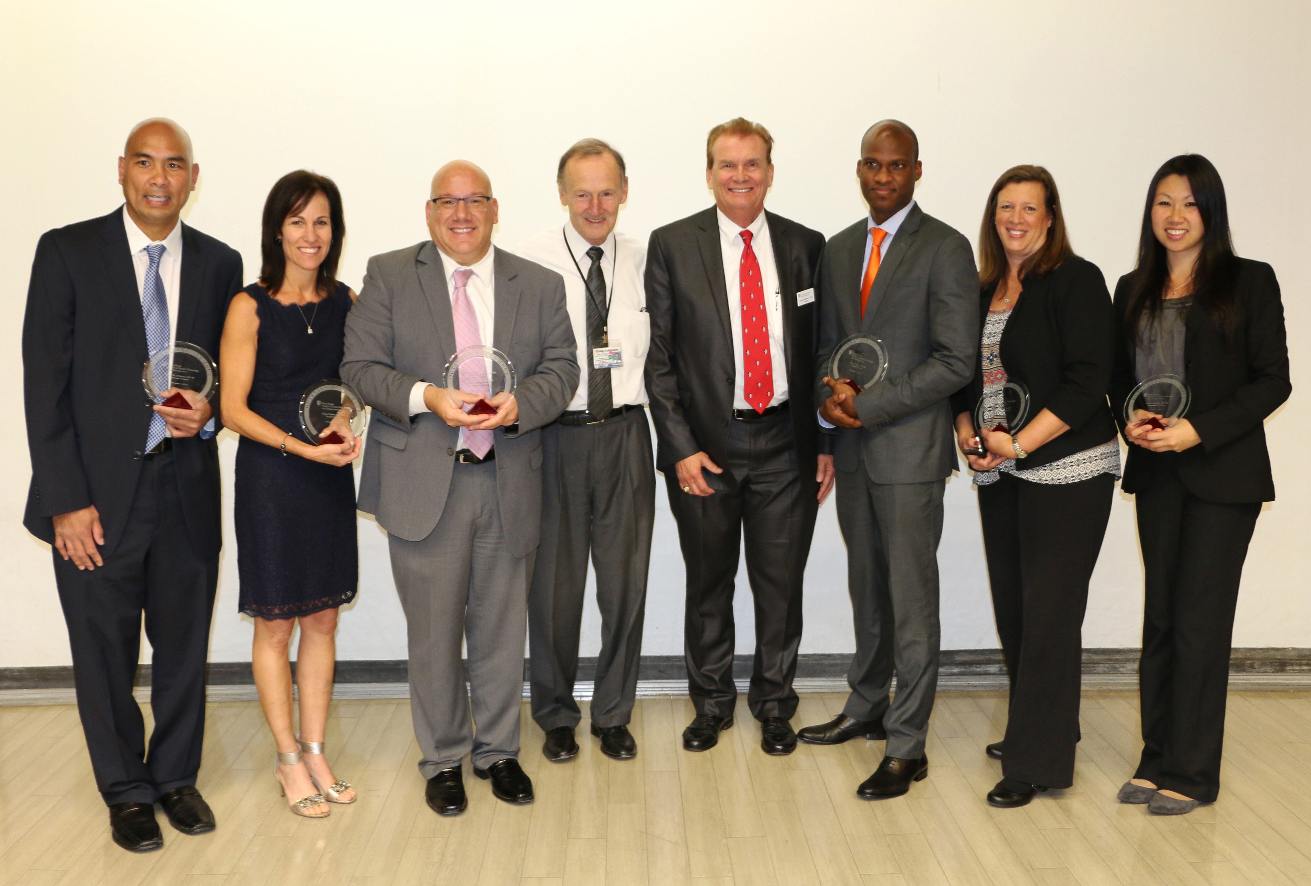 (From Left to Right: Victor M. DyReyes '97; Diana Tjaden '03; Ernest J. Conforti '95; Craig Lehmann, PhD, Dean and Professor, School of Health Technology and Management; Robert Stafford '72, '82, President of the Stony Brook Alumni Association; Karl Pierre '06; Celeste Murphy '85; Anita Liu-Chen '02)