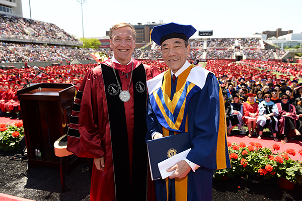 Stony Brook University President Samuel L. Stanley Jr., M.D and Long Island  businessman and philanthropist Charles B. Wang