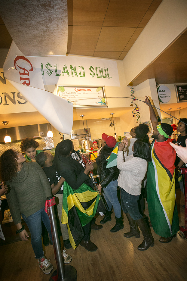 Stony Brook, NY; Stony Brook University: Ribbon cutting of the new Island Soul Caribbean food station.