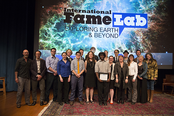 Lyl tomlinson and finalists from famelab usa competition banner