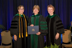 Stony Brook Medicine's Dr. Margaret Parker, in center, was honored as a Master of Critical Care Medicine by the Society of Critical Care Medicine (SCCM) at its 2014 Critical Care Congress. With Dr. Parker are, from left: Sandra Lee Blosser, Chancellor of the American College of Critical Care Medicine, and Carol Thompson, President, SCCM