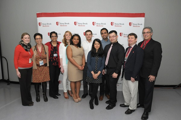 Twelve students will remain at Stony Brook to launch their medical careers. Pictured are some of the 12, with faculty leaders. From left: Drs. Margaret Connolly and Rachel Boykan of the Department of Pediatrics; Dr. Latha Chandran, Vice Dean, Undergraduate Medical Education; Matching students Wendy Podany (Internal Medicine), Jocellie Marquez (General Surgery), Edward Forsyth (Urology), Bushra Wazed (Internal Medicine), Varun Talanki (Urology), and Yuchen Liu (Anesthesiology); Dr. Howard Sussman, Associate Chair, Director of Medical Student Education; and Dr. Frederick Schiavone, Vice Dean for Graduate Medical Education.