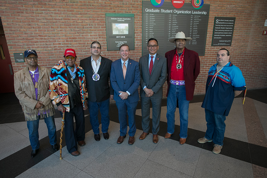 President Samuel L. Stanley and Chief Diversity Officer Lee Bitsoi had a meet and greet with leadership of the Long Island Tribal Nations to celebrate Native American Heritage Month. Left to right: Martin Jones, Tribal Representative of Matinecock Nation; Chairman Osceola Townsend of Matinecock Nation; Chief Harry Wallace of Unkechaug Nation; President Stanley; Lee Bitsoi; Lubin Hunter, Tribal Representative of Shinnecock Nation; and Jay Levenson, Native American Student Organization Advisor.