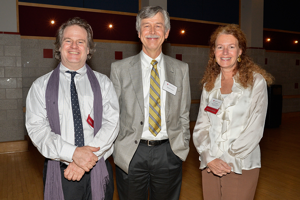 Richard Larson, chair of Linguistics (center) with honorees John Bailyn, Chancellor's Award for Excellence in Teaching, and Lori Repetti, Chancellor's Award for Excellence in Faculty Service.