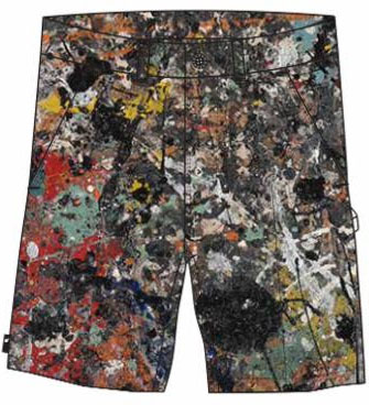 Cotton canvas painter shorts with Jackson Pollock Studio pattern, coming soon.