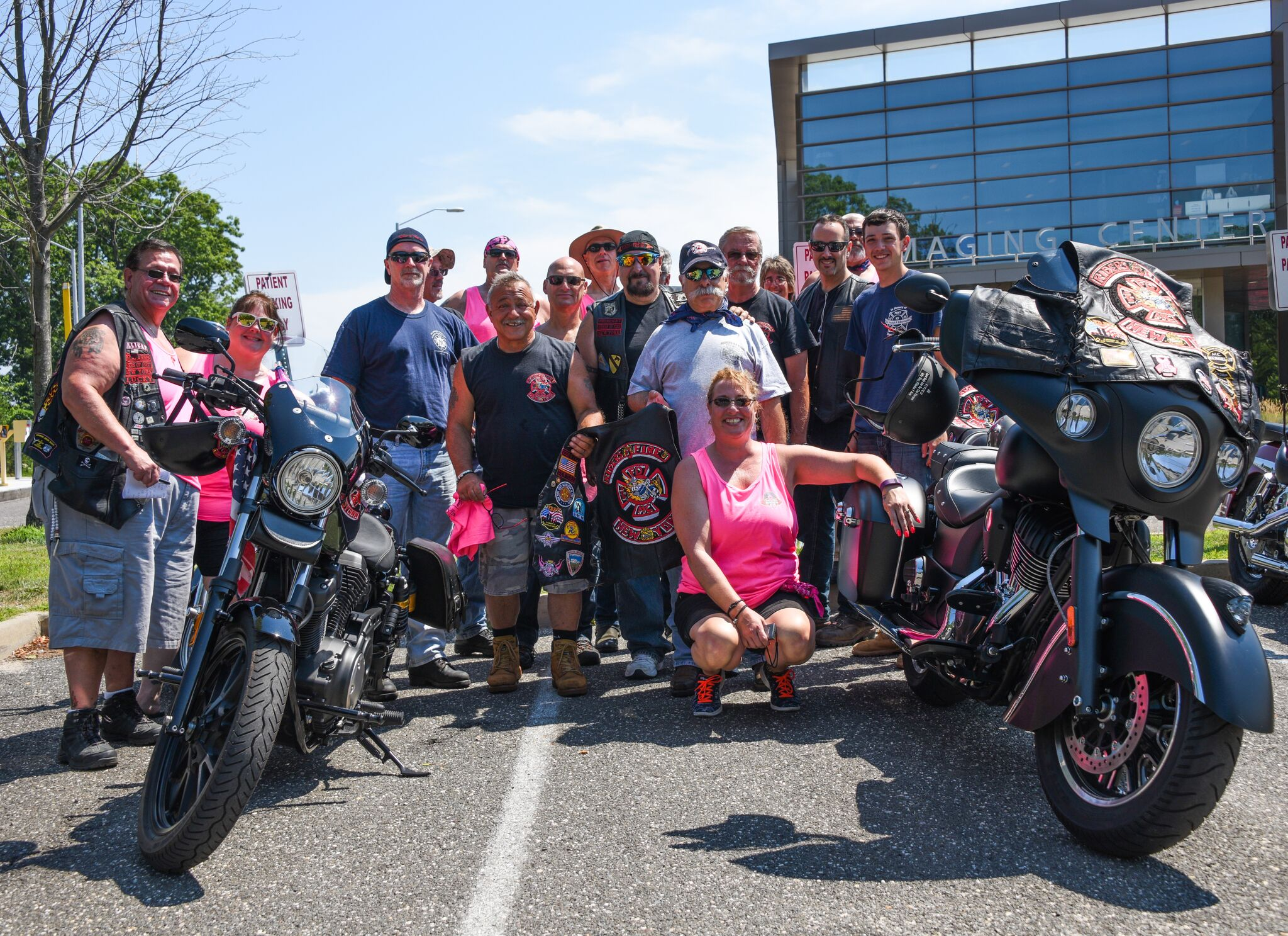 Riders of Fire, a motorcycle club of volunteer firefighters based out of Long Island, get ready for the run at Stony Brook University Cancer Center. Photo credit: Mac Titmus