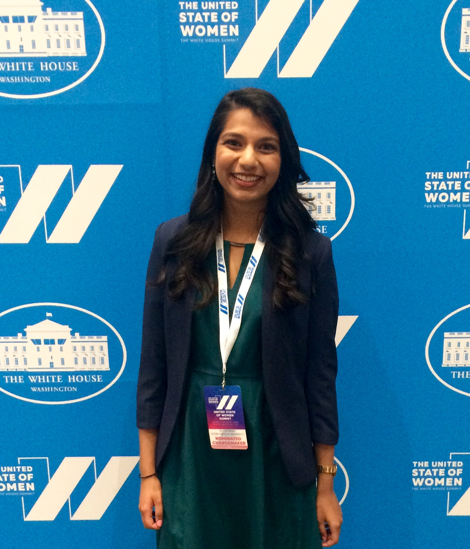 Ruchi Shah at the White House summit addressing gender equality.