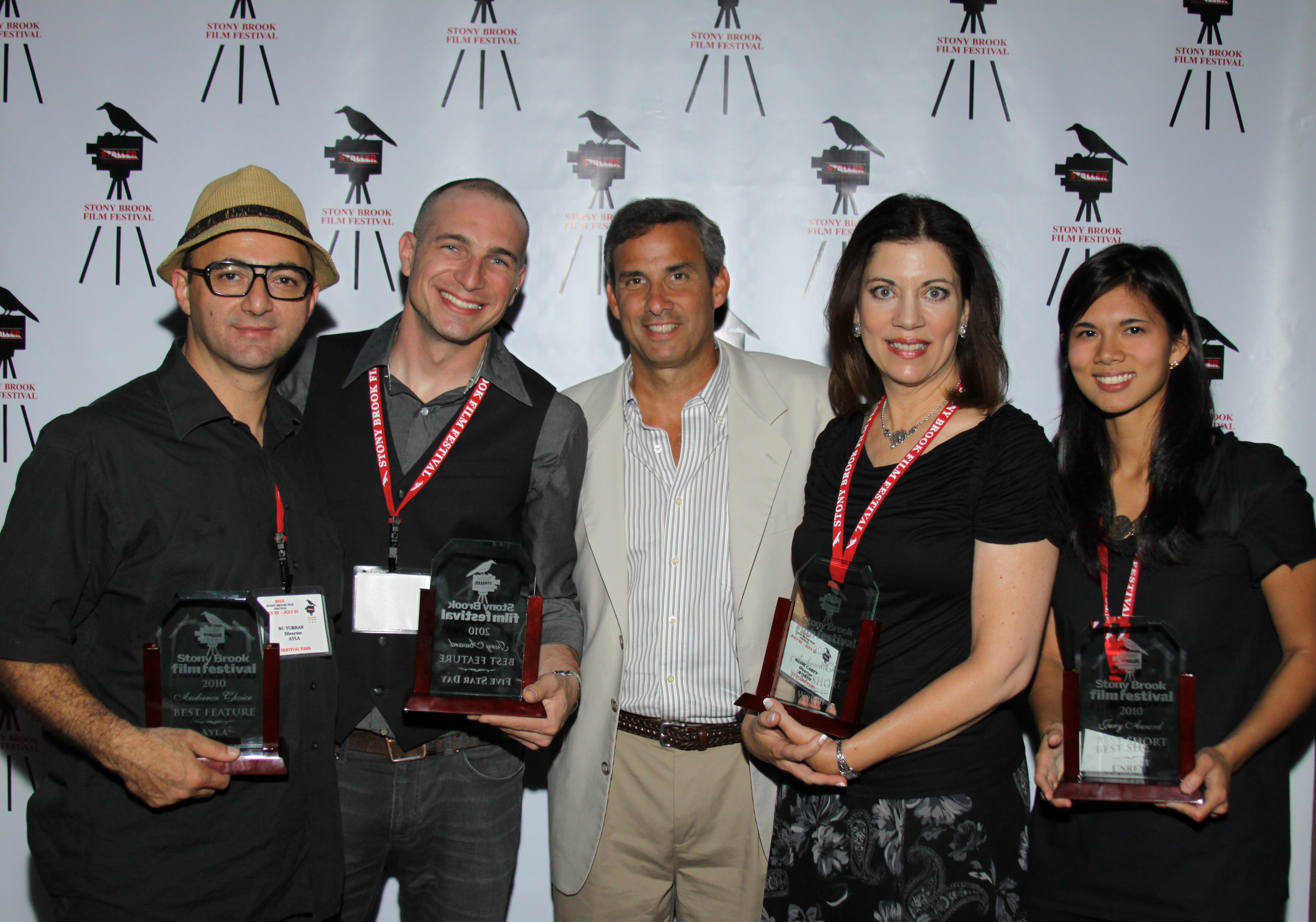 From left: Su Turhan, director of Ayla; Danny Buday, director of Five Star Day; Film Festival Founder and Director Alan Inkles; Kathi Carey, director of Worth; Marie Pineda, producer of Unrest