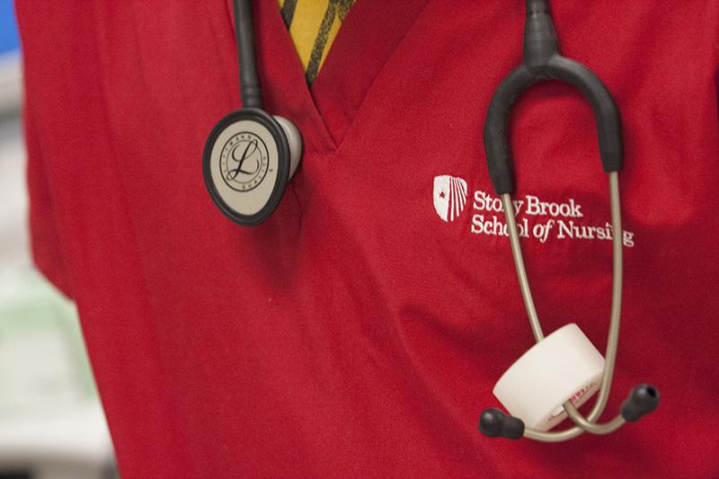 Stony Brook, NY; Stony Brook University Medical Center: Students and instructors in a School of Nursing Undergraduate lab.