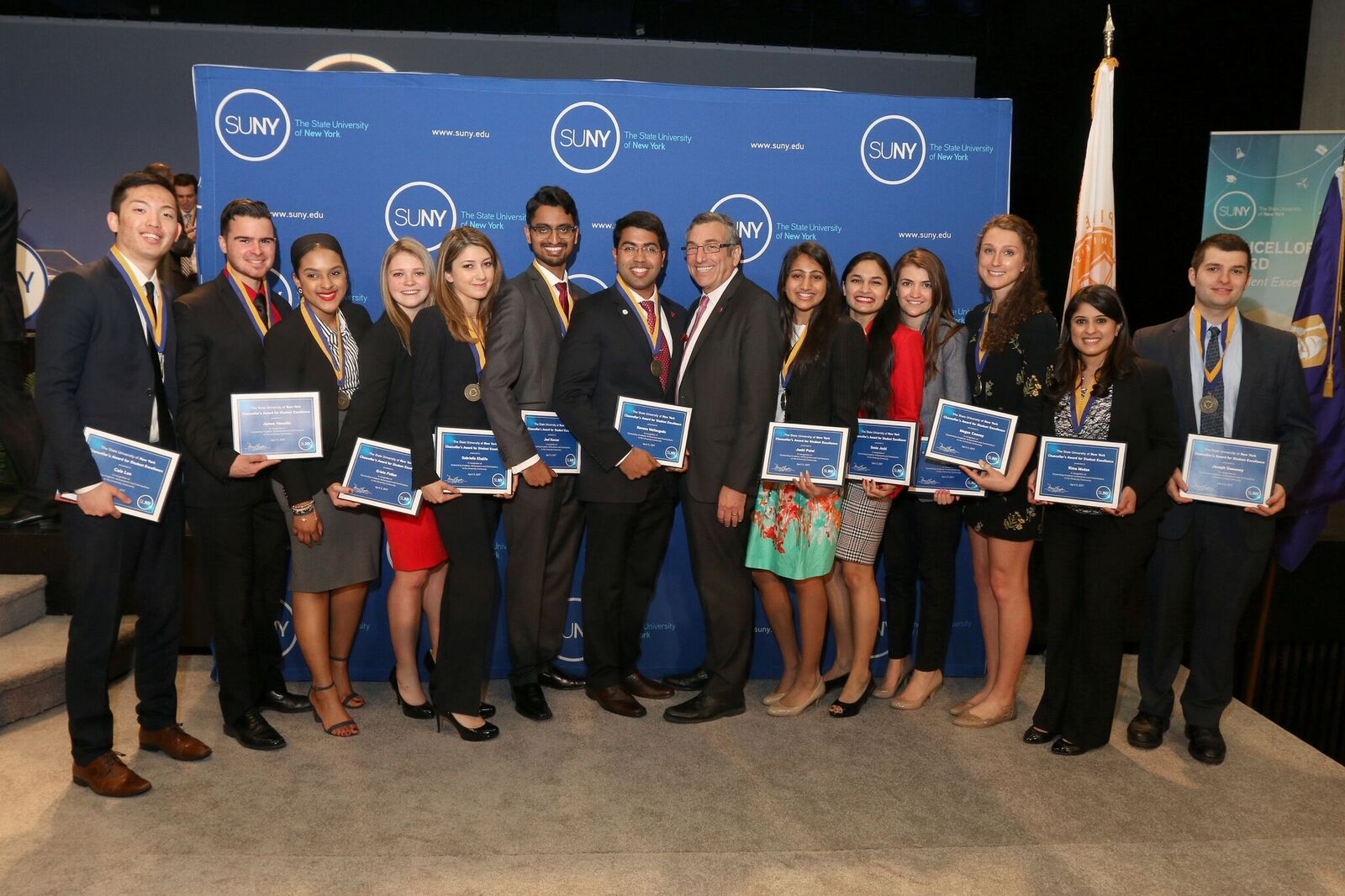 Left to right: Cole Lee; James Vassallo; Joselin Vargas; Krista Pullen; Gabrielle Khalife; Joel Kovoor; Naveen Mallangada; Charles Robbins, Vice Provost for Undergraduate Education and Dean of the Undergraduate Colleges; Janki Patel; Sonia Joshi; Taylor Brant; Megan Cooney; Rima Madan and Joseph Sweeney (not pictured: Bella Gurevich and Ioana Soaita)