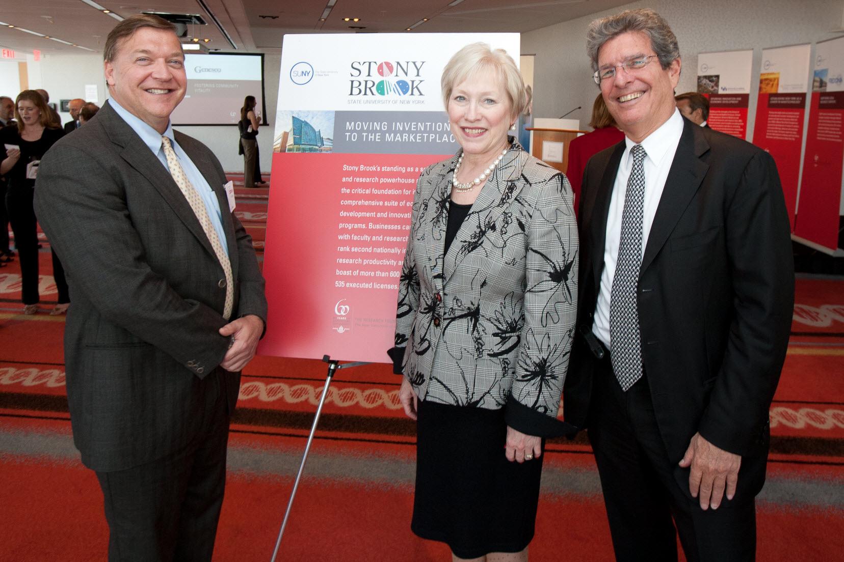 Left to right: Samuel L. Stanley, Nancy Zimpher, Ellis Rubinstein