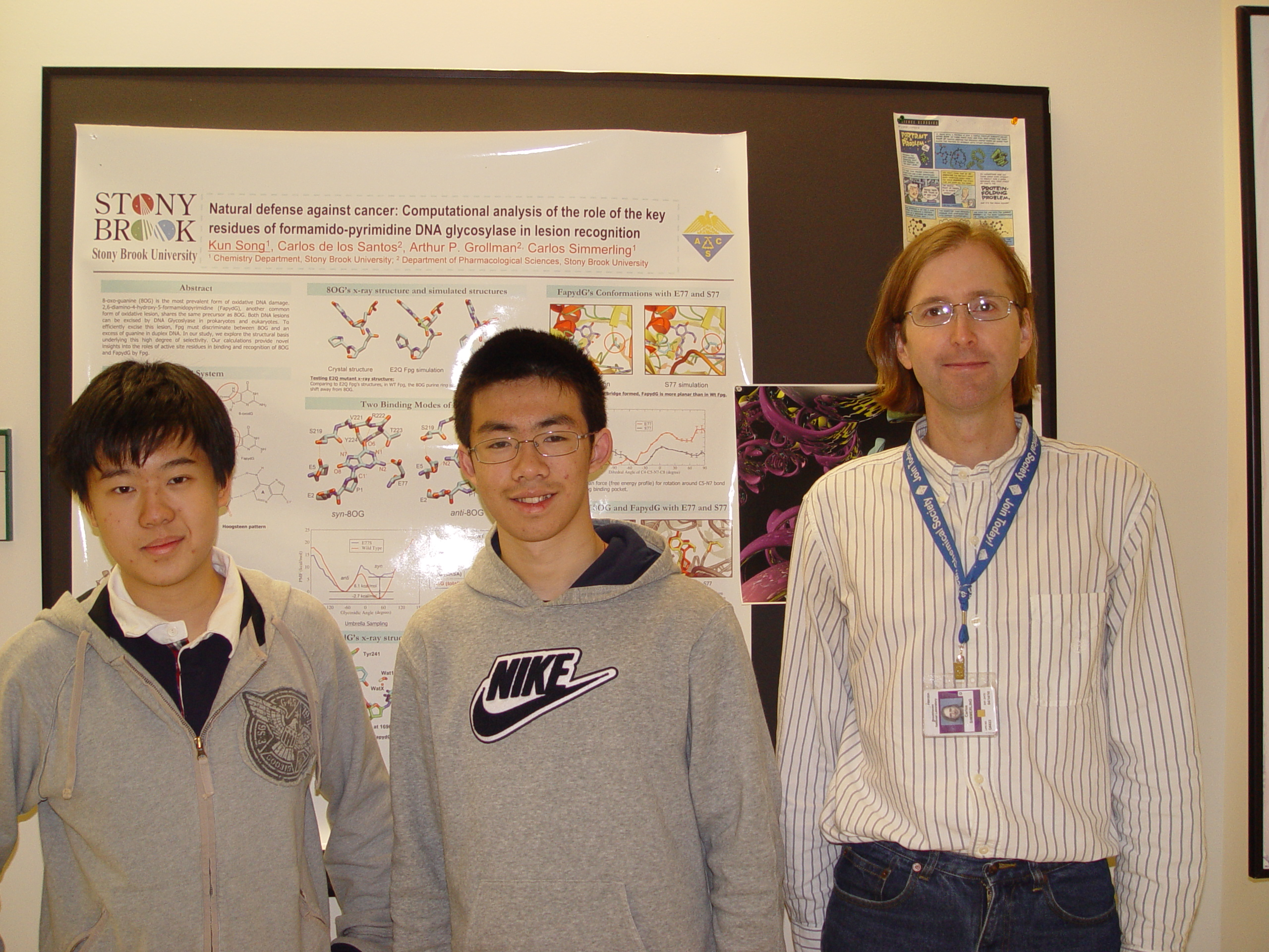 From left: Siemens regional finalists Ruoyi Jiang and Kevin Zhao, both from Ward Melville High School, with mentor Professor Carlos SImmerling