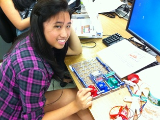 A student from Longwood School District working on an electrical circuit as part of TechPREP.