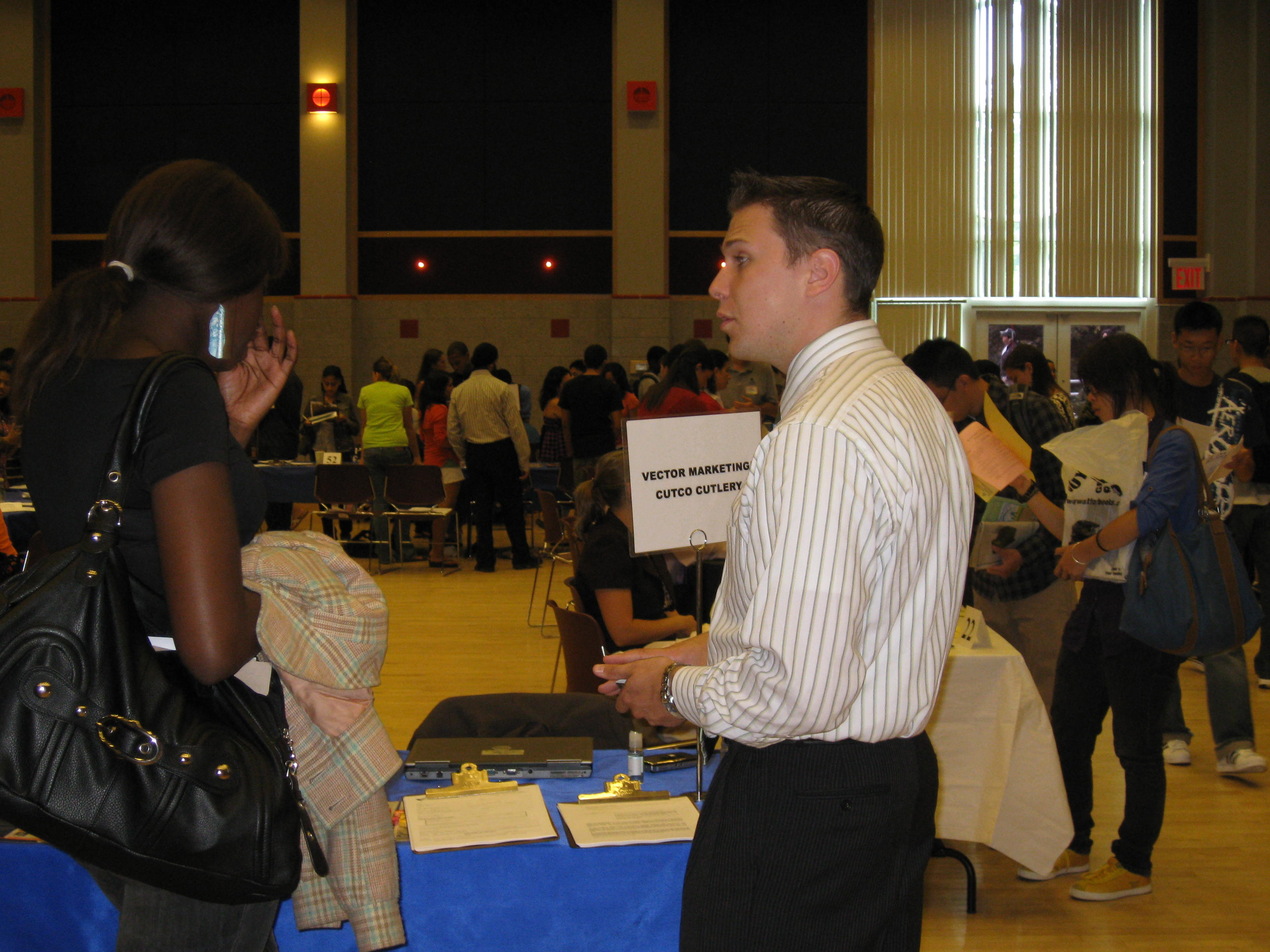 Vector Marketing at a part-time job expo held on campus