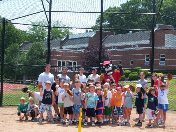 Wolfie spends the day with campers at the Stony Brook School.