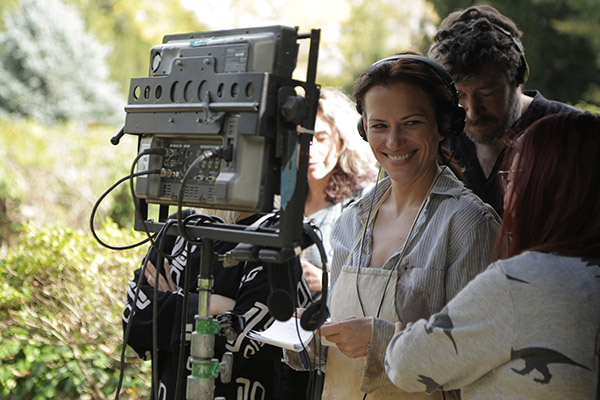 Director Catherine Eaton on the set of her film