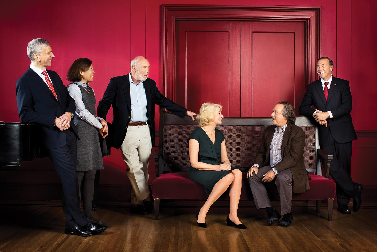 Left to right: Cary F. Staller,  Marisela H. Staller,  James H. Simons,  Marilyn H. Simons,  Richard L. Gelfond and  President Samuel L. Stanley Jr.