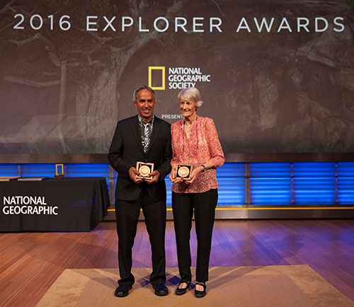 Meave Leakey accepts the Hubbard Medal, alongside fellow honoree Nainoa Thompson, at the 2016 National Geographic Explorer Awards in Washington, D.C. on June 16, 2016. Photo by Randall Scott/National Geographic Society.