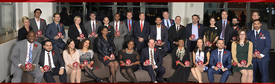 Members of the 40 Under Forty Class of 2016 with Stony Brook President Samuel L. Stanley Jr. (back row, center right) and Stony Brook Alumni Association President Robert Stafford '72, '82 (back row, center left).