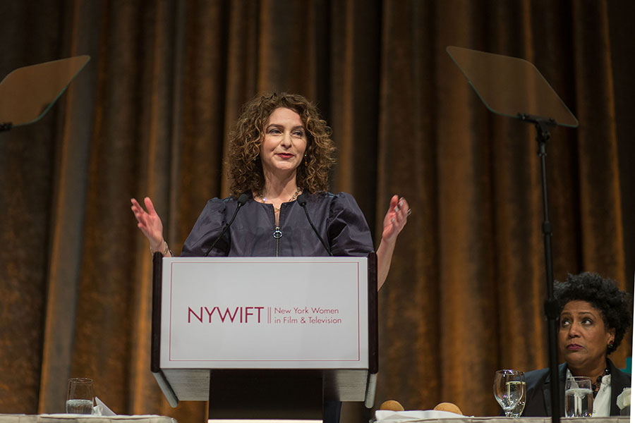 Simone Pero addresses the New York Women in Film and Television's 38th annual Muse Awards on December 14, 2017.