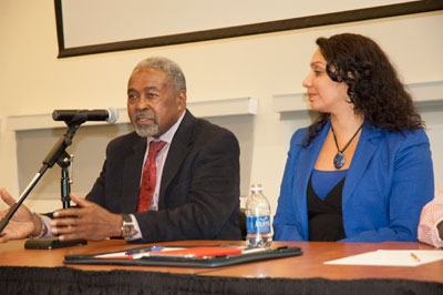 Panelists Aldustus Jordan (left) and Christine Vargas share their insights about code switching.