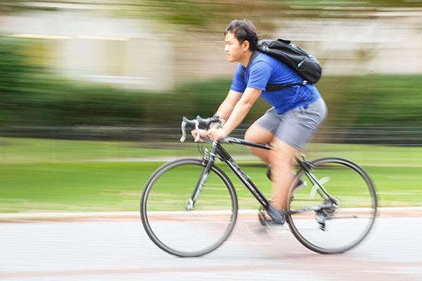 biker on campus