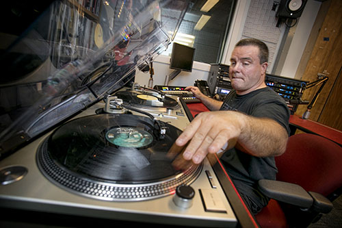 DJ Cut Supreme (William Cecere) broadcasts from the Kelly Quad facility.